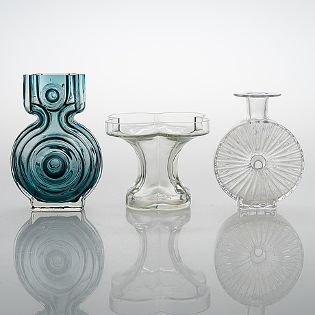 Helena tynell, a glass bottle and two glass vases, riihimäen lasi 1960s-70s.