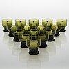 Tapio wirkkala, a set of 15 glasses from iittala, finland, 1959-68.