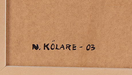 Nils kölare, oil on panel, signed and dated -03 verso.