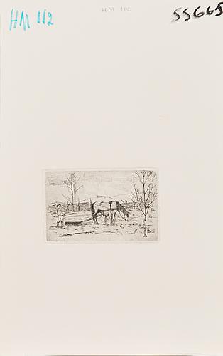 Hugo simberg, line etching, not signed.