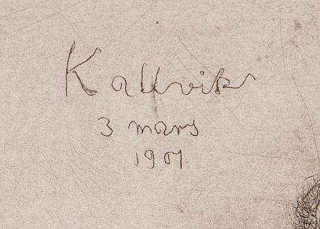 """Hugo simberg, viivasyövytys ja kuivaneula, laattasigneerattu ja merkattu """"kallvik 3 mars 1901""""."""