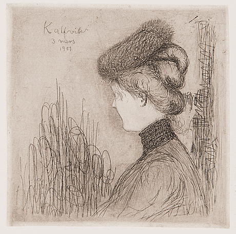 """Hugo simberg, line etching and drypoint, signed and marked """"kallvik 3 mars 1901"""" on plate."""