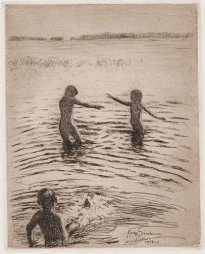 "Hugo simberg, line etching and drypoint, signed and marked ""efter fotogr.1902"" on plate."