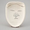 A lisa larson stoneware sculpture of a mask, k-studion, gustavsberg.