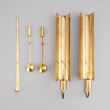 Pierre forssell, four brass wall sconces, skultuna.