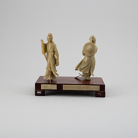 Two soapstone figure groups, china, 20th century.