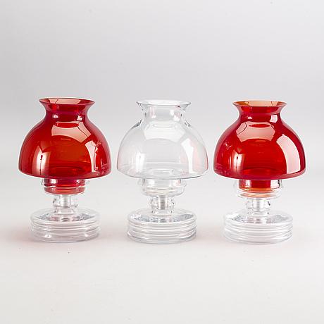 "Nanny still, lyktor, 3 st, ""apollo 1960"", glas, riihimäen lasi, 1970-tal."