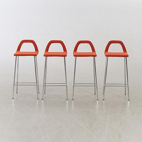 Four late 20th century bar stools.