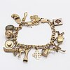 Bracelet with charms, 18k gold, approx 17,5 x 0,5 cm, 35,3 g.