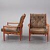 "Ingemar thillmark, a pair of easy chairs, ""läckö hög"", ope, 1960s."