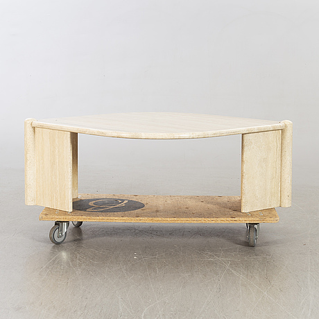 A 20th century second half travertin sofa table.