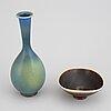 Berndt friberg, a stoneware vase and bowl, gustavsberg studio, signed.