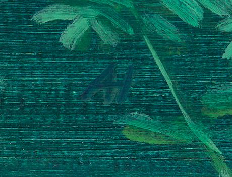 Anne hakala, tempera kankaalle, a tergo signeerattu ja päivätty -05.