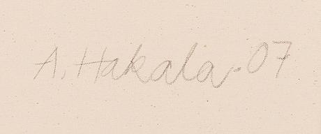 Anne hakala, tempera kankaalle, signeerattu ja päivätty -07.