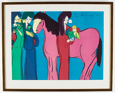 Walasse ting, lithograph in colours, 1981, signed 58/200.
