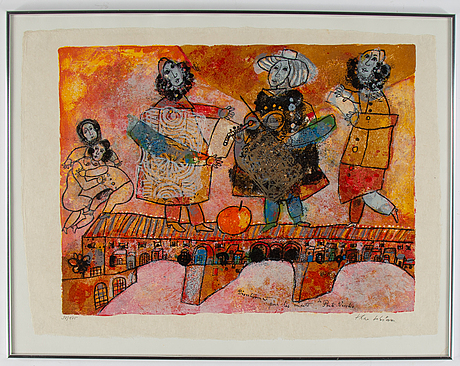 Theo tobiasse, lithograph in colours, signed 98/175 in pencil.