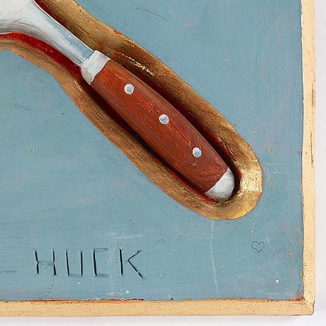 Lars huck hultgren, wood relief, signed.