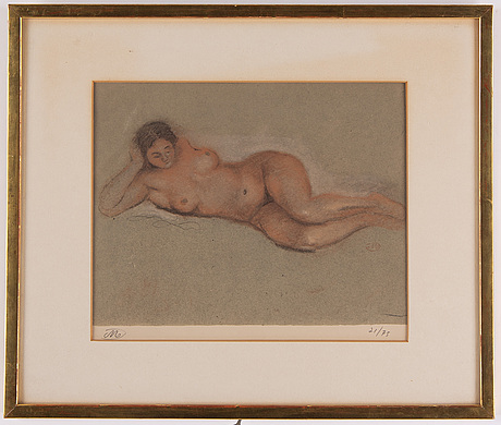 Aristide maillol, lithograph in colours, signed 21/75.