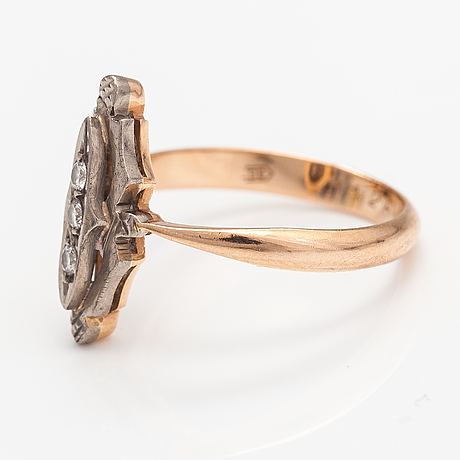 A 14k gold ring with diamonds ca. 0.045 ct in total. soviet union.