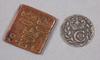 Mynt, 2 st, koppar resp silver, 1591 resp 1714.