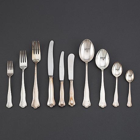 A silver cutlery, cg hallberg, 'kungsholm'. (109 pc).