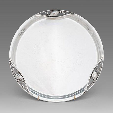 Georg jensen, a sterling silver 'blossom' tray, design nr. 2y. copenhagen, mid-20th century.