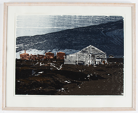 Lars lerin, woodcut in colours, signed and dated l lerin 91 as well as numbered 87/280 in pencil.