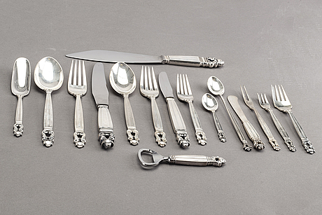 Johan rohde, an 82 piece set of acorn sterling and stainless steel cutlery, georg jensen.