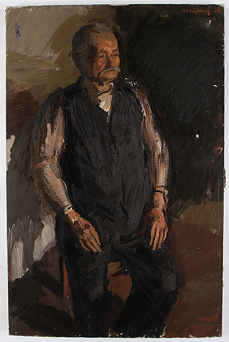 Alf lindberg, oil on canvas, signed and dated -35.
