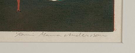 Karin mamma andersson, färgträsnitt, signerat och numrerat 242/500 med blyerts.
