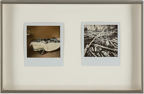 Jh engstrÖm, polaroidfoton, 2 st, samt fotobok.