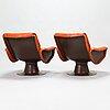 YrjÖ kukkapuro, a pair of 1960's 'saturnus' armchairs for haimi.
