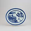 A large blue and white serving dish, qing dynasty, 19th century.