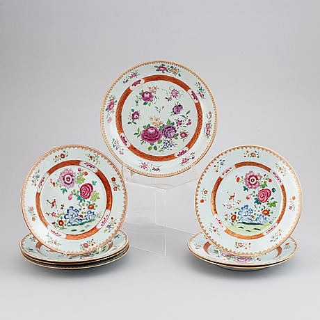 Eight famille rose dishes, qing dynasty, qianlong (1736-95).