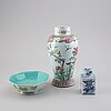 A group of three porcelain objects, qing dynasty, 18th/19th century and europe, 20th century.