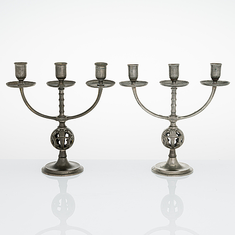 Paavo tynell, a pair '8028' of 1930's candelabrum for taito.