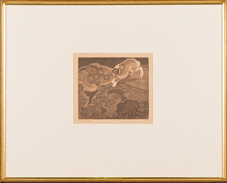 """Lennart segerstrÅle, etching, signed and dated 1920, marked """"eget tryck""""."""