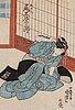 Utagawa kuniyoshi (1797/98-1861), two coloured woodblock prints, japan, 19th century.
