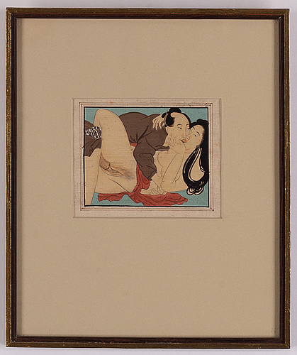 Unidentified artists, ink and colour on paper and coloured woodblock print. japan, 19th and 20th century.