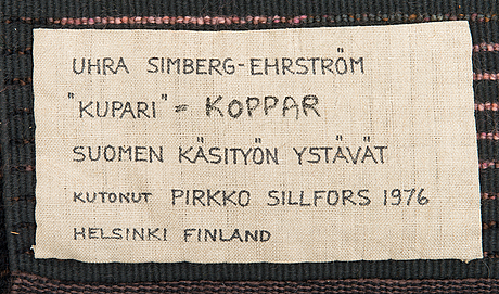 Uhra-beata simberg-ehrstrÖm, a rug/ ryarug for friends of finnish handicraft. circa 185x125 cm.