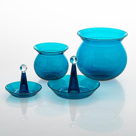 Nanny still, a set of 17 glass pieces 'harlekiini', riihimäen lasi oy, 1950-60s.