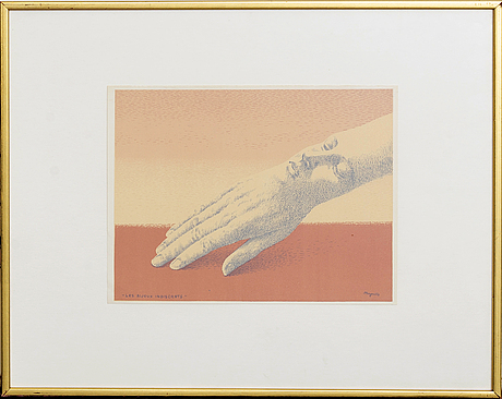 RenÉ magritte, colorlitograph 'les bijoux indiscrets'. signed in the print.