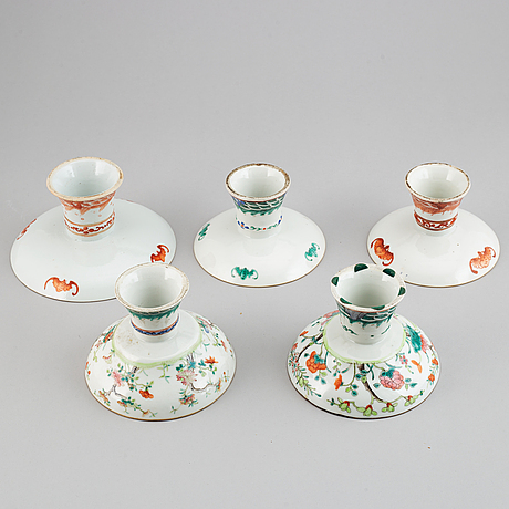 Five famille rose and iron red footed dishes, qing dynasty, late 19th century.