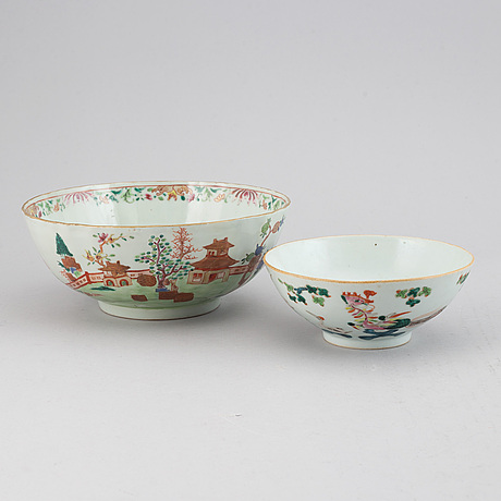 A group of 7 porcelain objects, qing dynasty, incl. qianlong and 19th century.