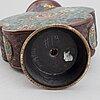 Parti föremål, 2 st, brons samt ljussstakar, ett par, porslin. bl.a. qingdynastin samt 1900-tal.