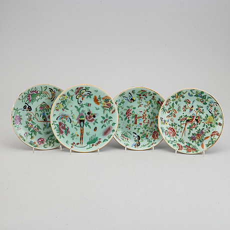 Nine famille rose canton dishes, qing dynasty, late 19/early 20th century.
