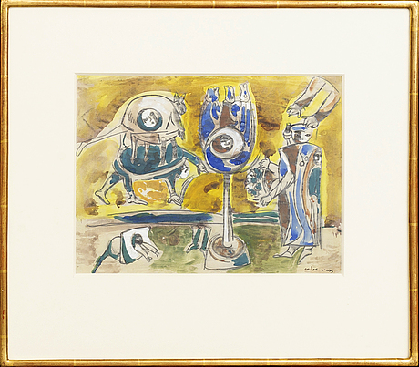 An signed pencil and watercolor  'ovanlig ritual' by endre nemes.