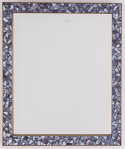 A 20th century brass and mosaic mirror frame.