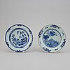 A blue and white serving dish and six odd blue and white plates, qing dynasty, qianlong (1736-95).