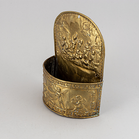 An empire brass cutlery box, first half of the 19th century.